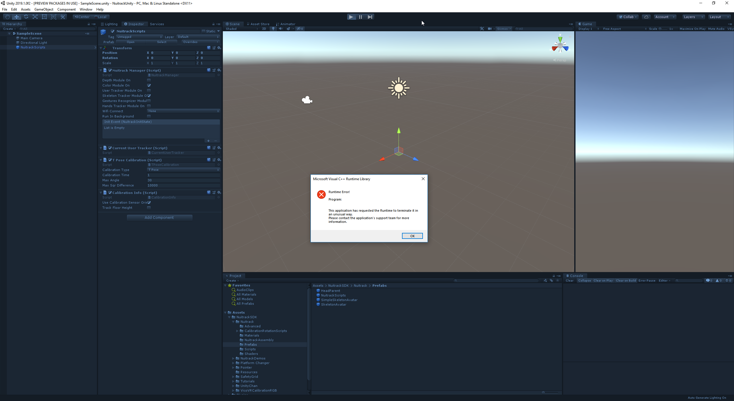 Unity Crash on Play - Unity3D - Nuitrack
