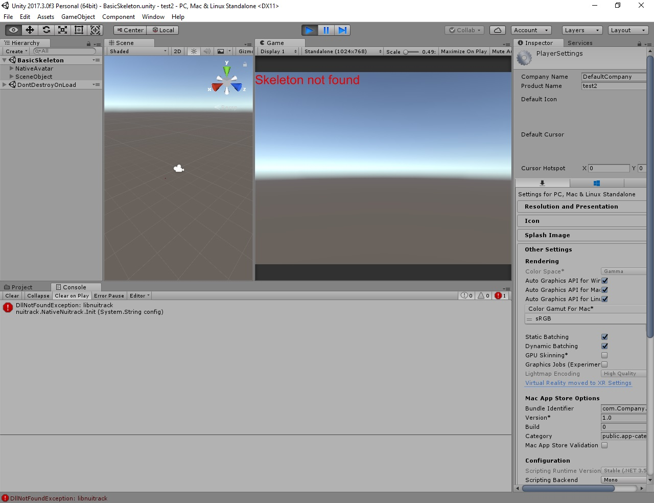 Unity not able to load nuitrack dll Win 10, RealSense 415 - Unity3D